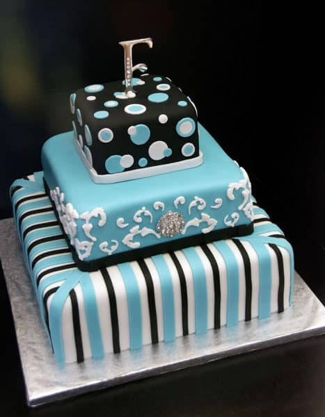 Funky Turquoise Black White Wedding Cake | U Name It! Creative ...