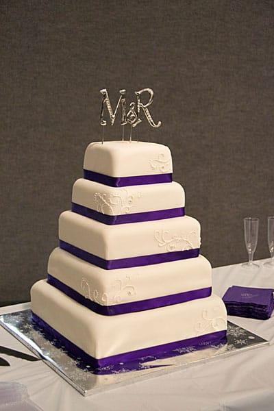 5 Tier Purple White Wedding Cake | U Name It! Creative Services