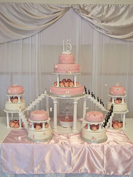 Pink Butterfly Quince Cake With Fountain U Name It